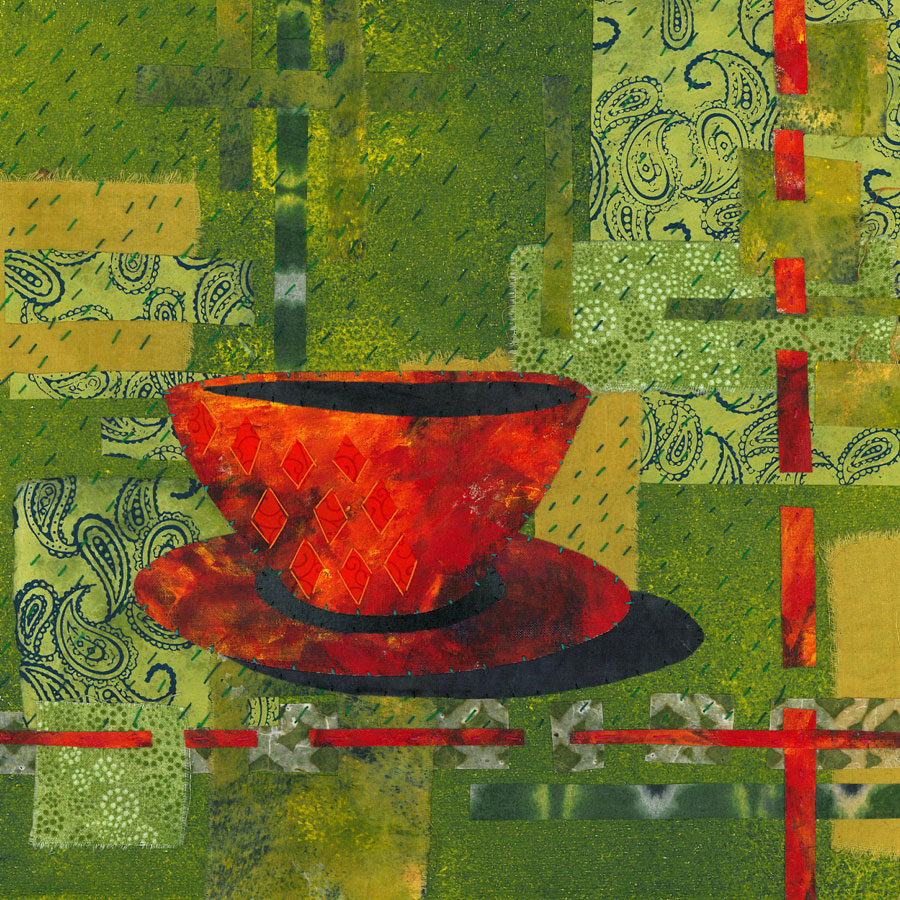 Cup and saucer - Fabric, paper, stitching