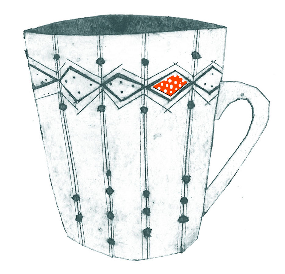Diamond mug - Collograph print on paper
