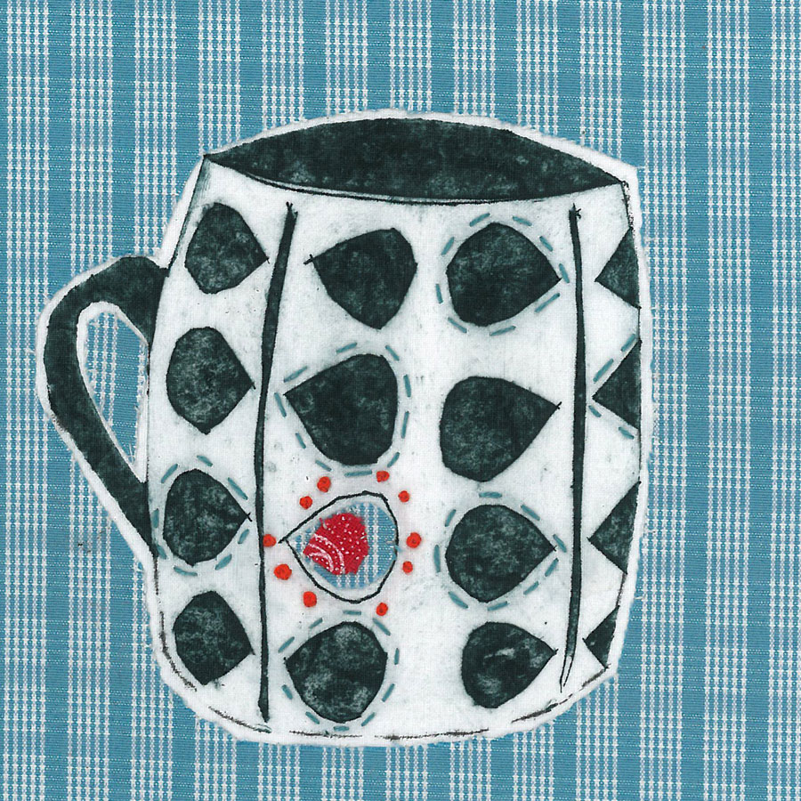 Mug 1 - Collograph print and stitch on fabric