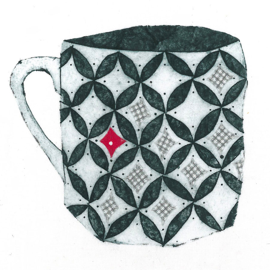 Mug 2 - Collograph print and stitch on fabric