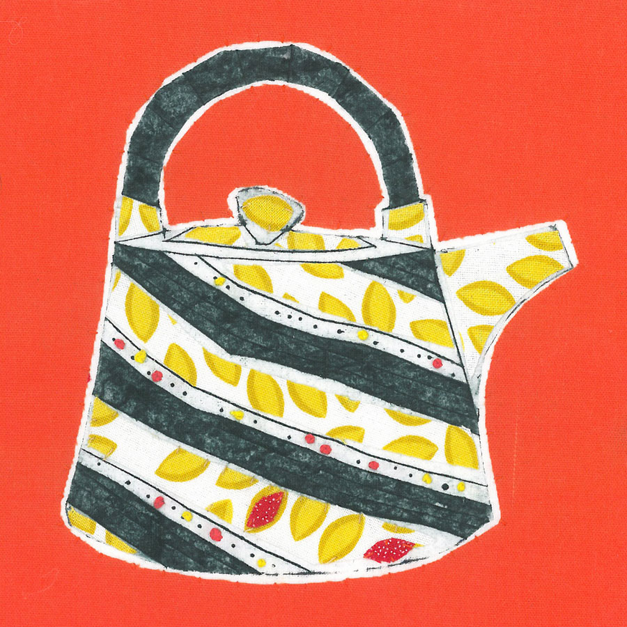 Teapot 2 - Collograph print and stitch on fabric