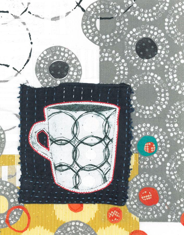 Circles 2 - Collograph print and stitch on fabrics