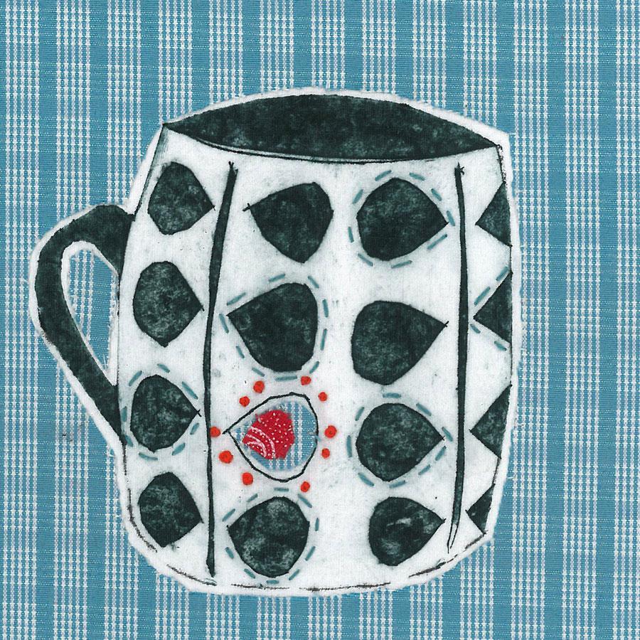 Mug 1 - Collograph print and stitch on fabric