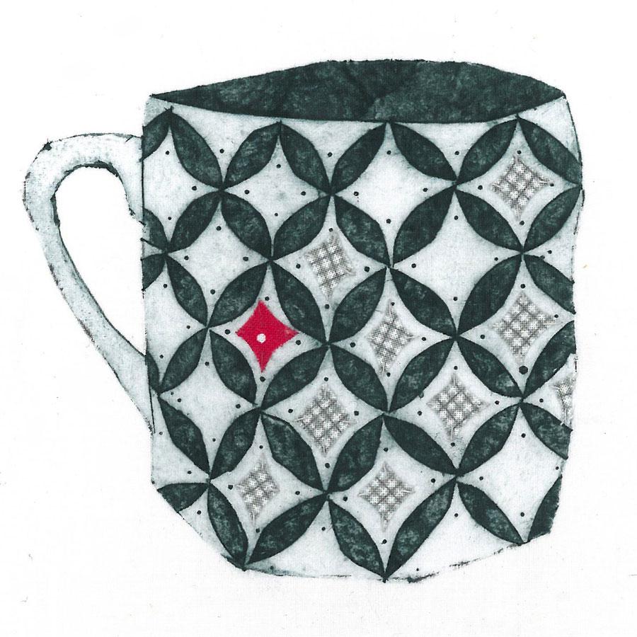 Mug 2 - Collograph print and stitch on fabric