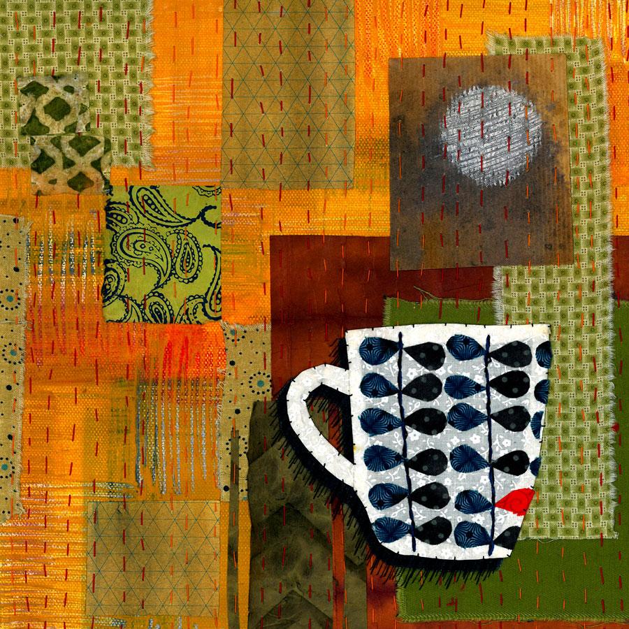 Pot 1 - Fabric, paper, stitching