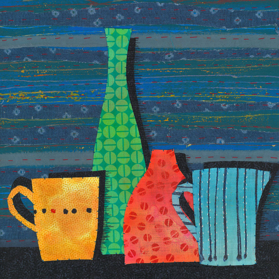 Pot Collection - Fabric, paper, stitching