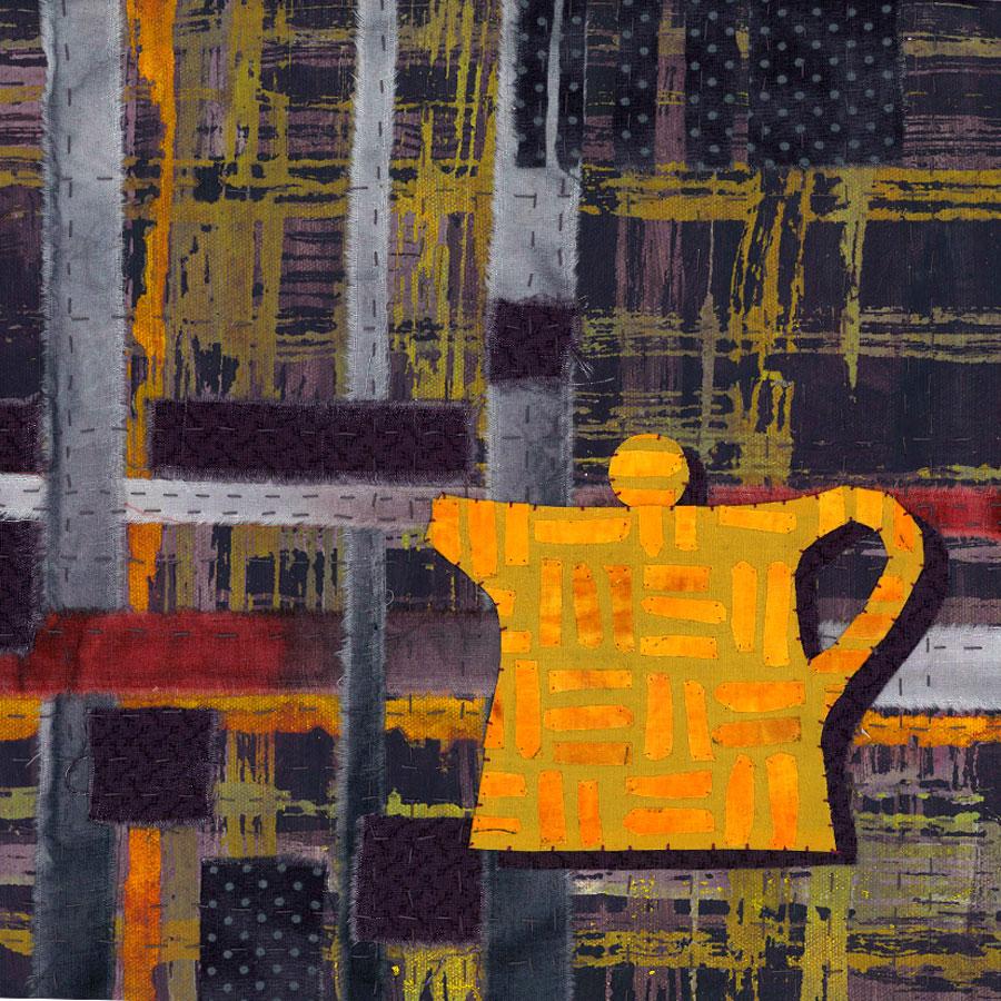 Teapot 1 - Fabric, paper, stitching